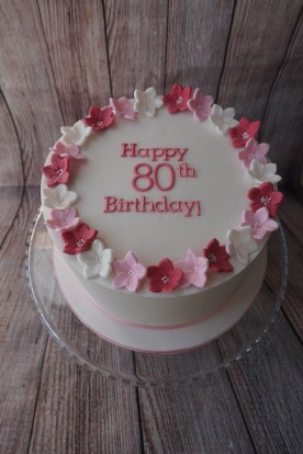 Fondant iced cake with flowers and message- £65