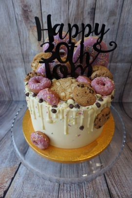 Donut and cookie themed cake