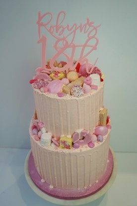 2 tier all pink drip cake- £120 (topper not included)