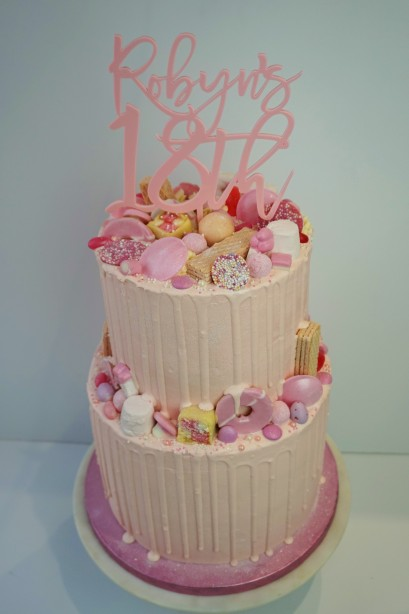 2 tier all pink drip cake