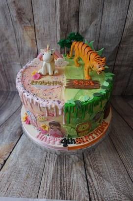 Half unicorn, half jungle themed cake
