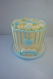 Colour themed drip cake with handmade flowers, name and age personalised £65