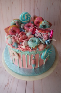 Pink and blue themed cake