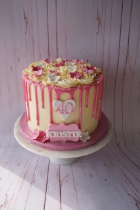 Colour themed drip cake with handmade flowers, name and age personalised (any colour)