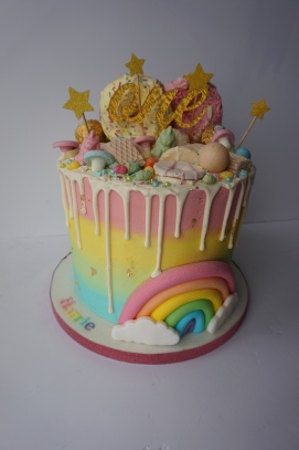 Pastel themed rainbow cake